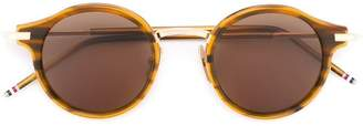 Thom Browne Eyewear Round Walnut & 12k Gold Sunglasses