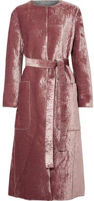 Bottega Veneta Crushed-velvet Coat - Pink