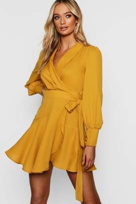 boohoo Wrap Front Flared Skirt Shirt Dress