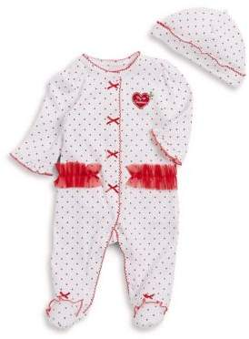 Little Me Baby Girl's Two-Piece Dotted Cotton Footie & Hat Set