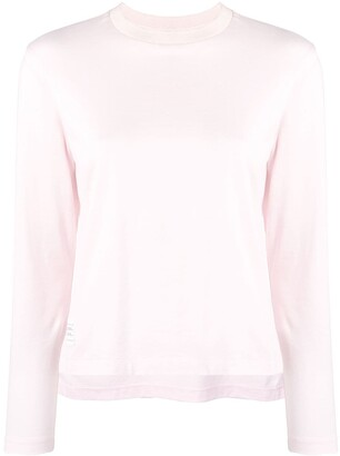 Thom Browne Slide Slits Long Sleeve Pink Tee