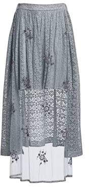 Stella McCartney Women's Isabella Tulle& Lace Combination High-Low Skirt - Dumbo Grey - Size 42 (8)