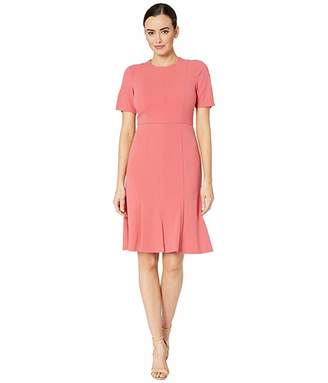 Donna Morgan Crepe Short Split Sleeve Fit and Flare Dress