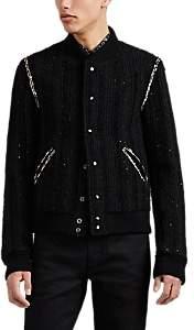 Saint Laurent Men's Sequin-Embellished Wool-Blend Tweed Teddy Jacket - Black