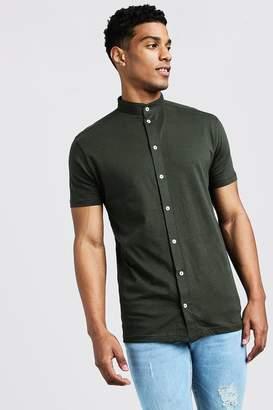 boohoo Short Sleeve Grandad Collar Jersey Shirt