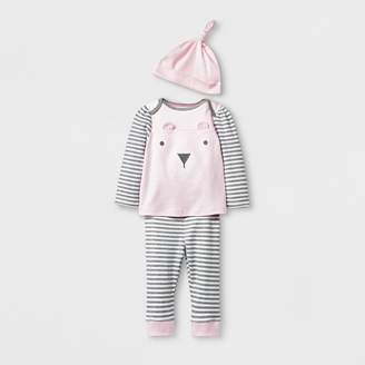 Cloud Island Baby Girls' 3pc Bear Top and Bottom Set with Hat - Cloud Island Pink