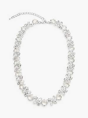 08fab1454 John Lewis & Partners Cubic Zirconia and Glass Statement Necklace, Silver