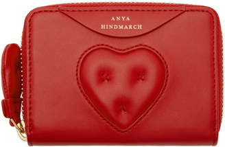 Anya Hindmarch Red Small Chubby Heart Zip Wallet