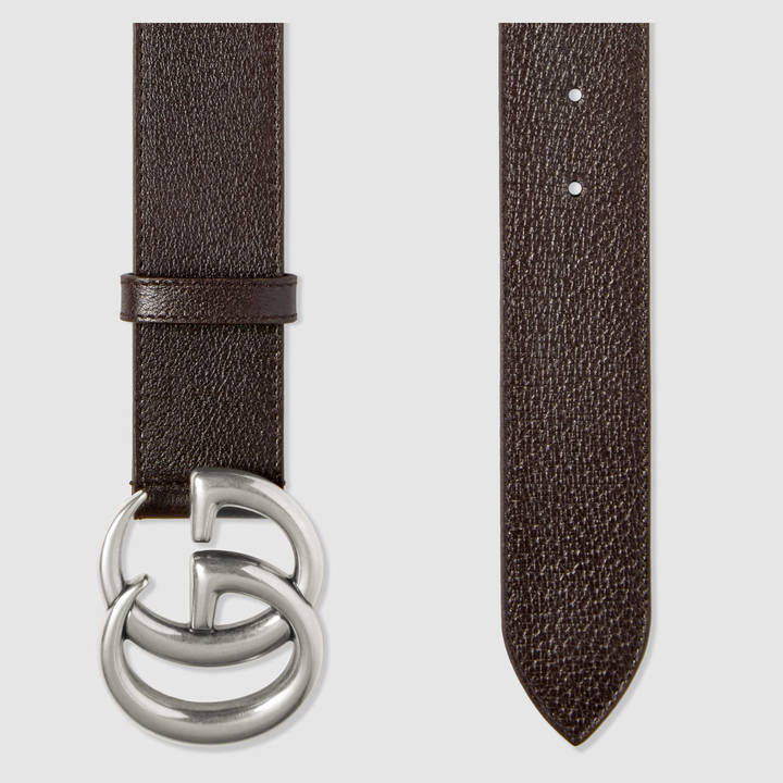 Leather belt with double G buckle 6