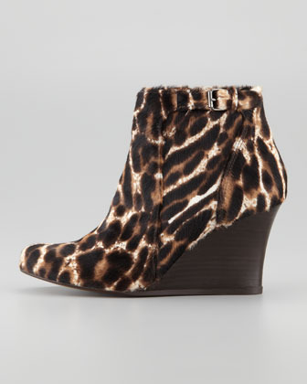Lanvin Leopard-Printed Calf Hair Wedge Ankle Boot