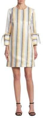 Victoria, Victoria Beckham Striped Tie-Cuff Shift Dress