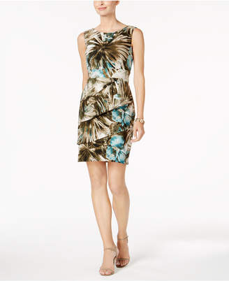 Connected Palm-Print Tiered Sheath Dress $69 thestylecure.com