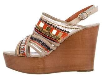 Oscar de la Renta Embellished Wedge Sandals