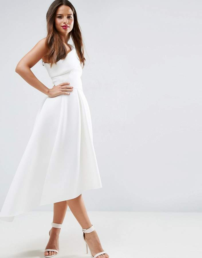 Asos ASOS One Shoulder Foam Scuba Dip Back Midi Skater Dress