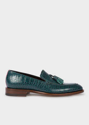 Paul Smith Womens Teal Mock-Croc Leather Alexis Loafers