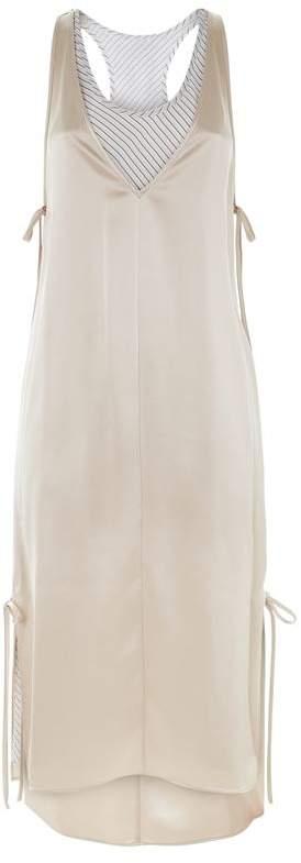 Bi-Layer Satin Midi Dress
