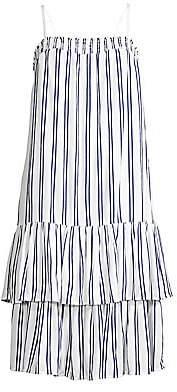 MICHAEL Michael Kors Women's Smocked Stripe Tiered Drop-Waist Dress