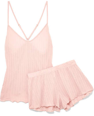 Eberjey Baxter Textured Stretch-jersey Pajama Set - Blush