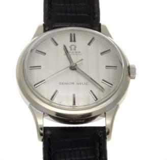 Omega Senior Nylic 14K White Gold Automatic Mens Watch $2,550 thestylecure.com