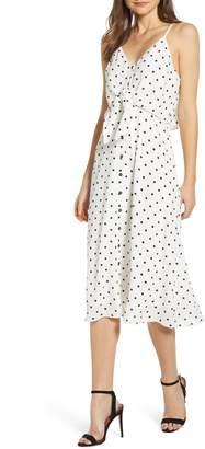 BP Polka Dot Tie Waist Midi Dresss