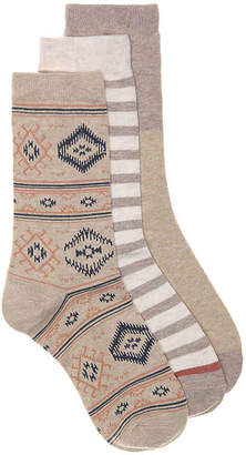 Lucky Brand Geometric Crew Socks - 3 Pack - Women's