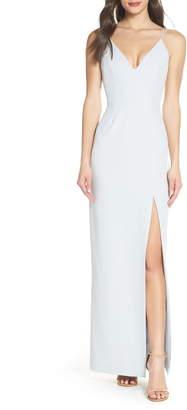 WAYF The Maisle V-Neck Scuba Crepe Evening Dress