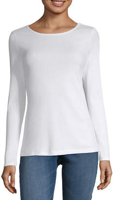 Liz Claiborne Long Sleeve Crew Neck Tee - Tall