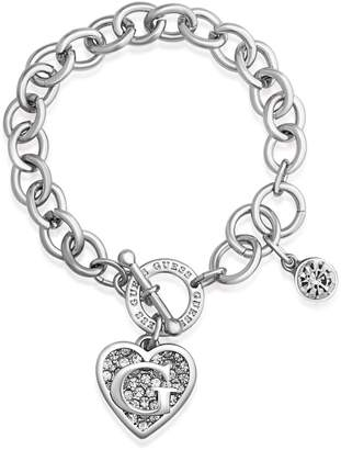 GUESS Silver Logo Heart Charm Toggle Bracelet