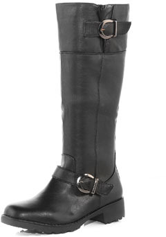 Dorothy Perkins Black horseshoe buckle boots