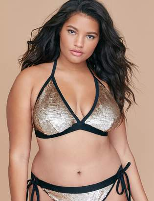 Lane Bryant No-Wire Swim String Bikini Top - Sequin