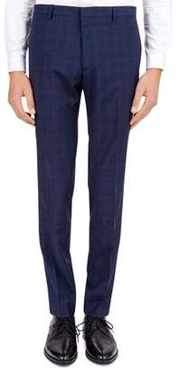 The Kooples Hidden Lines Checked Wool Slim Fit Trousers