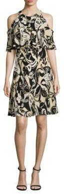 Polo Ralph Lauren Cold Shoulder Silk Floral-Print Dress $345 thestylecure.com