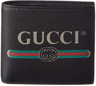 Gucci Logo Print Leather Bifold Coin Wallet