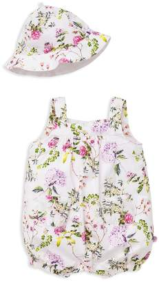 Offspring Girls' Floral-Print Shortall & Hat Set