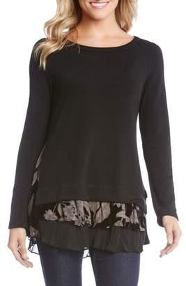 Karen Kane Burnout Velvet Inset Sweater