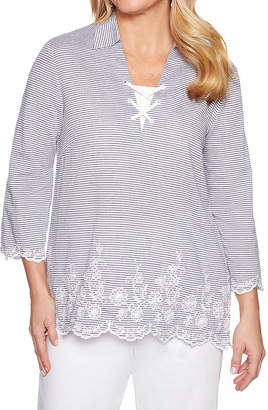 Alfred Dunner Womens 3/4 Sleeve Tunic Top