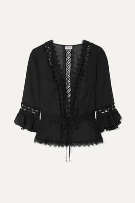 Charo Ruiz Ibiza Edda Crocheted Lace-paneled Cotton-blend Jacket