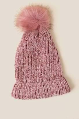 francesca's Simone Chenille Faux Fur Pom Beanie - Pink