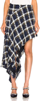 Monse Tweed Asymmetrical Skirt in Navy, Olive & Ivory | FWRD