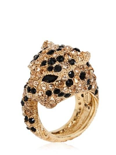 Roberto Cavalli Panther Ring With Swarovski Crystals