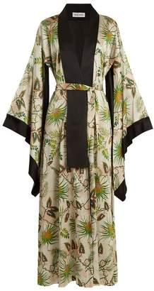 Adriana Iglesias - Anna Reversible Tropical Print Stretch Silk Robe - Womens - Green White