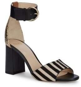 Calf-Hair & Glittered Heel Sandals