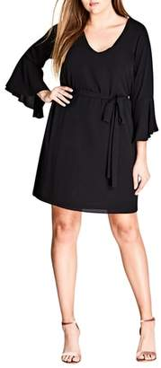 City Chic Tie Waist Bell Sleeve Dress