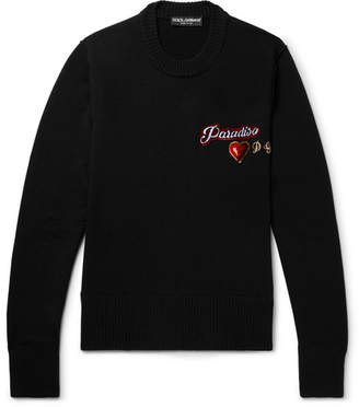 Dolce & Gabbana Slim-Fit Appliquéd Wool Sweater