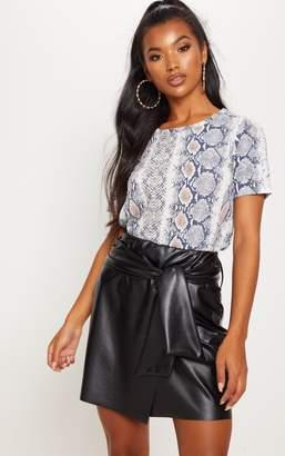 PrettyLittleThing Black Faux Leather Tie Waist Mini Skirt
