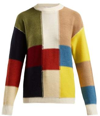 See by Chloe Patchwork Wool Sweater - Womens - Multi