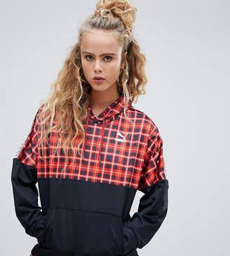 Puma exclusive recycled polyester red check hoodie