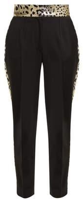 Dolce & Gabbana Leopard Lame Panelled Wool Blend Trousers - Womens - Black Multi