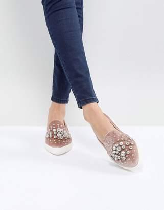 Miss KG Lareina Embellished Velvet Sneakers