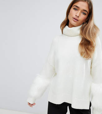 Fashion Union Petite High Neck Sweater With Faux Fur Cuffs